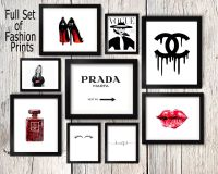 Fashion set prints, Coco Chanel perfume print, kate moss ...