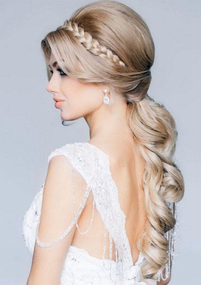 Hochzeitsfrisur Mit Pferdeschwanz Für Lange Haare Niedrig Im