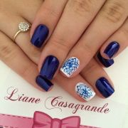 blue nail art design dark