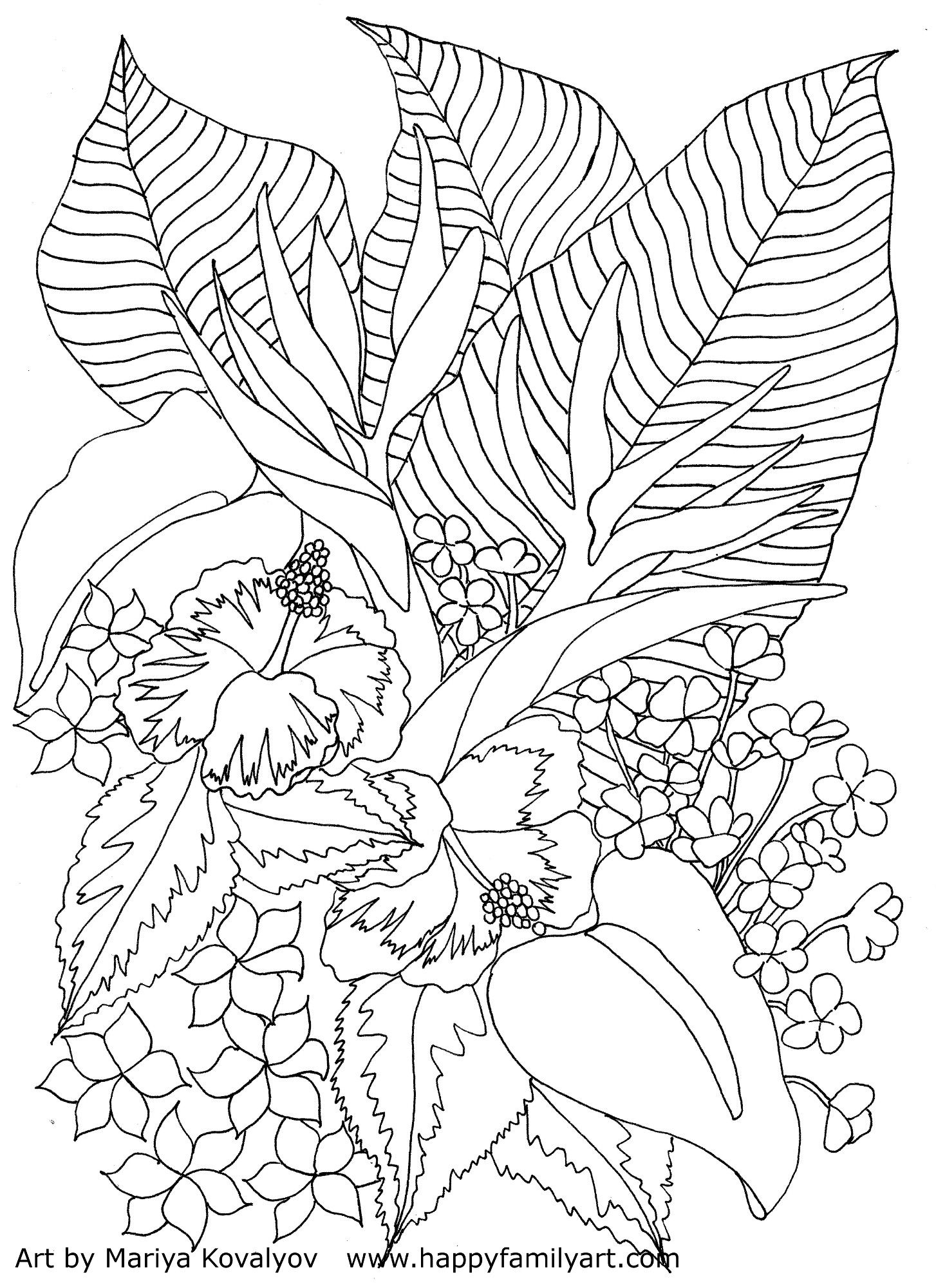 Tropical Flowers Coloring Page--Please make sure to know