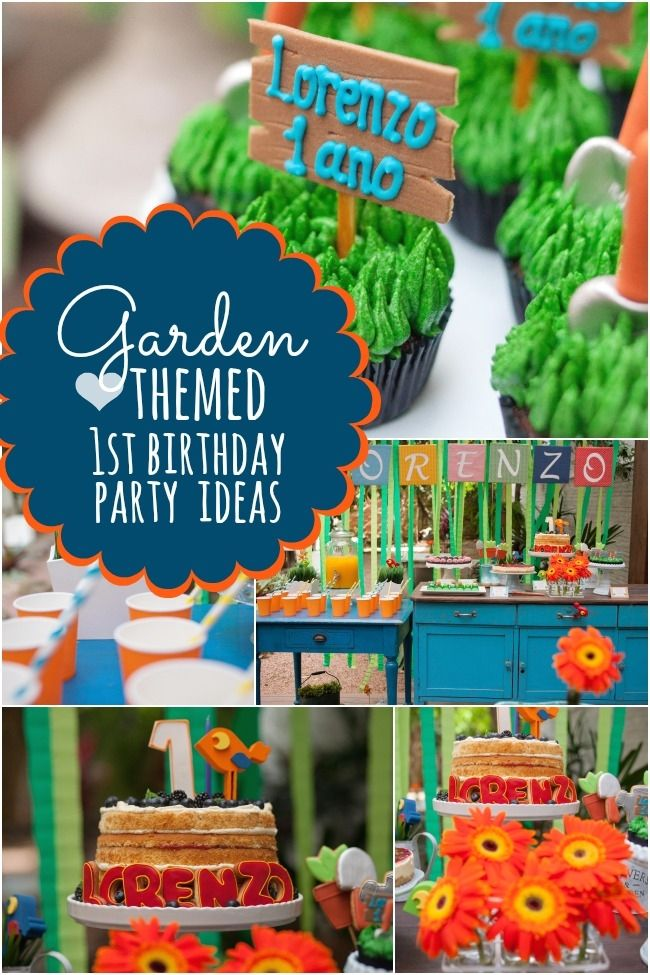 A Garden Themed Boy's First Birthday Party Gardens Birthdays