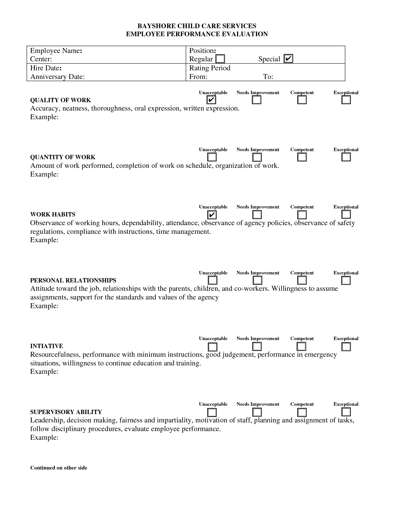 Evaluation Form For Child Care