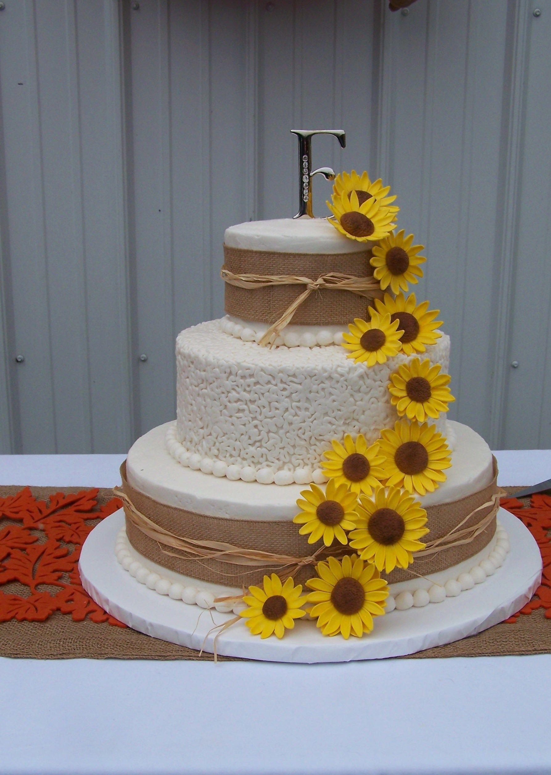 Rustic Sunflowers Wedding Cake
