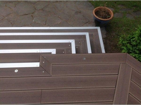 Lame Terrasse En Bois Composite Mdsa France Marron Chocolat Escalier Finition Profil F