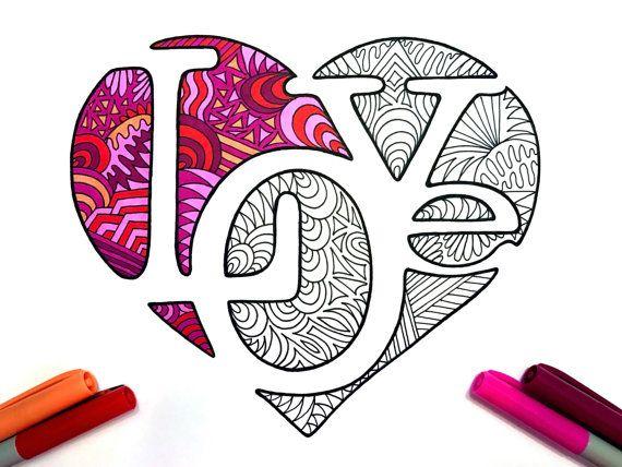 LOVE Heart PDF Zentangle Coloring Page Von DJPenscript Auf