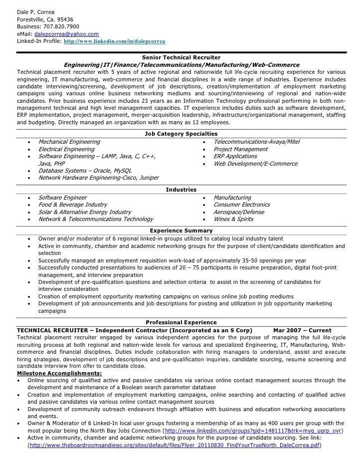 Senior Technical Recruiter Resume Jobresumesample Com 686