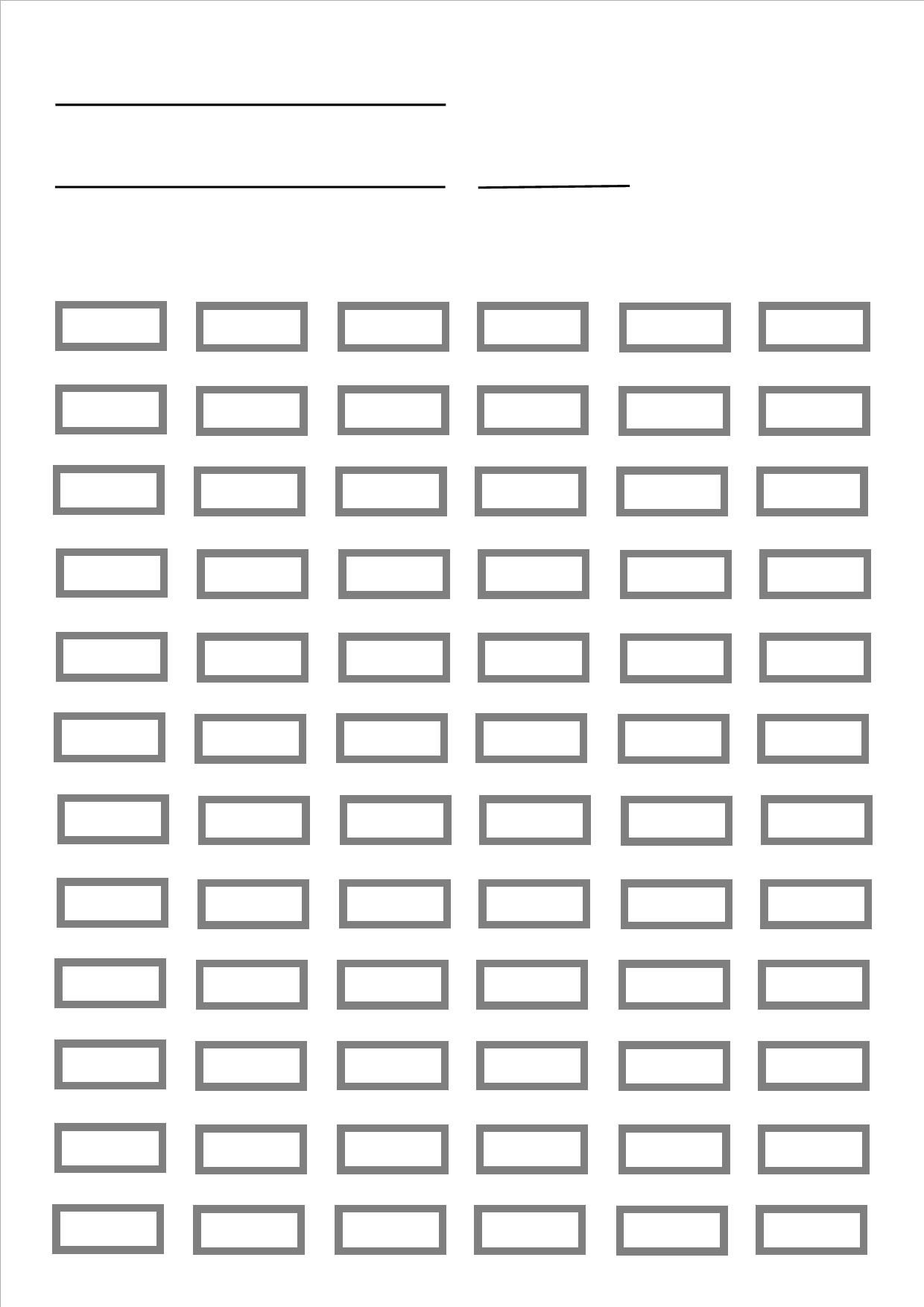 blank pencil chart for up to 72 pencils. prints A4 size