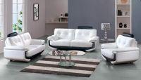 White Leather Sofa Set with Black Accents Miami Florida