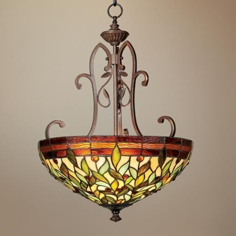 Robert Louis Tiffany 18 Wide Two Light Pendant Chandelier 200