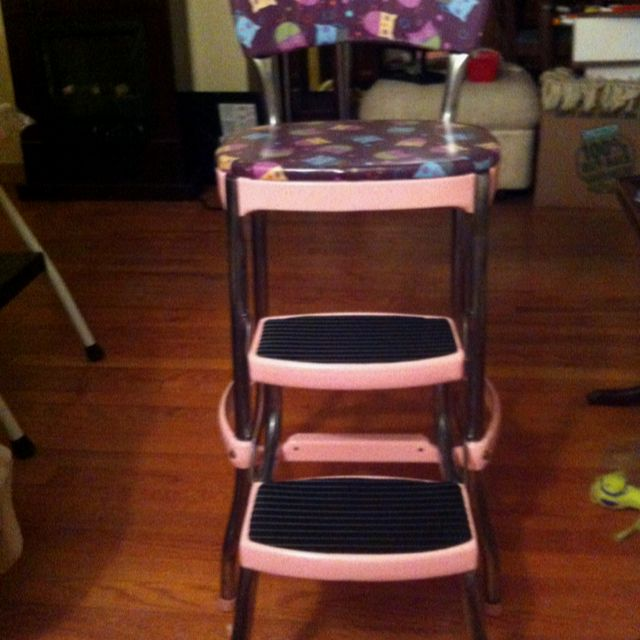 vintage kitchen step stool chair appliance stores my cosco i repainted and reupholstered ...