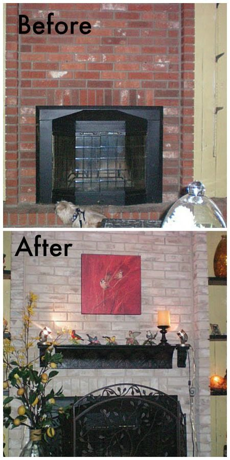 Brick fireplace painted townhome tour  Fireplace brick Color themes and Bricks