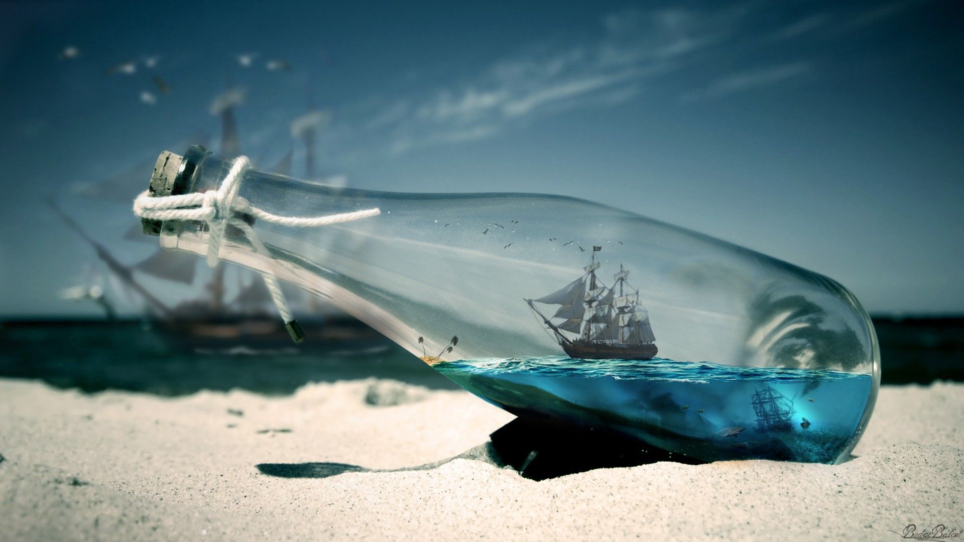 water sea bottles ships pirates of the caribbean - wallpaper