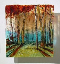 Nature's Curtain, Kiln fired glass wall panel by Alice ...