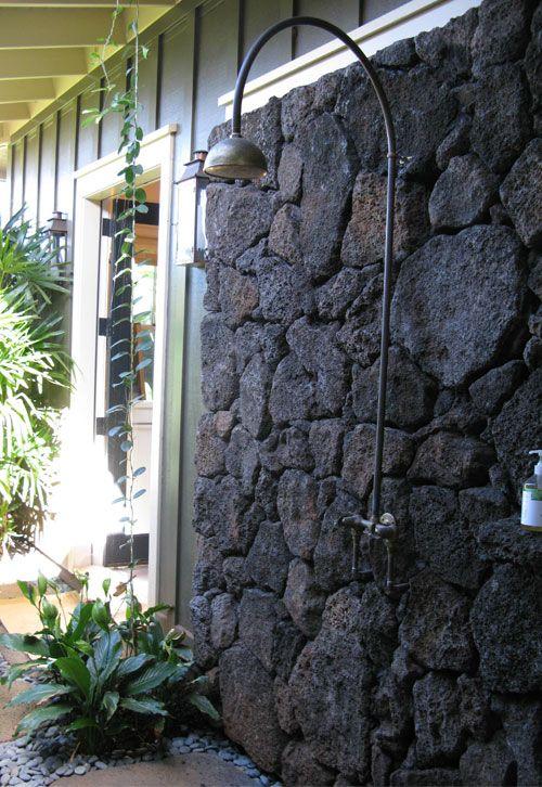 outdoor shower . love volcanic