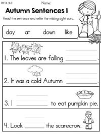 Autumn Sentences >> Complete the sentences by writing the ...