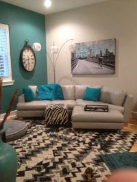 Turquoise accent wall.