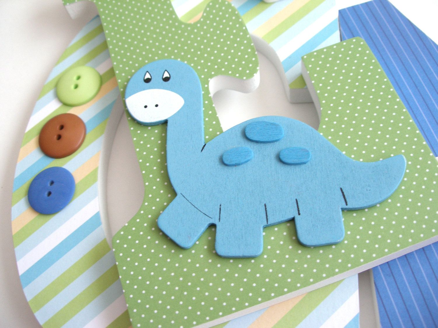 Custom Decorated Wooden Letters Darling Dinosaur Theme