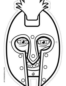 This Greek warrior mask has a big helmet for you to color