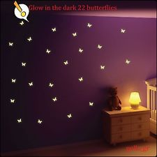 Glow in the dark butterfly wall stickersbaby boy girl kids roomdecor also room rh pinterest