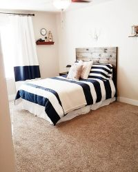 Boys Bedroom, navy rugby stripes bedding, planked wood