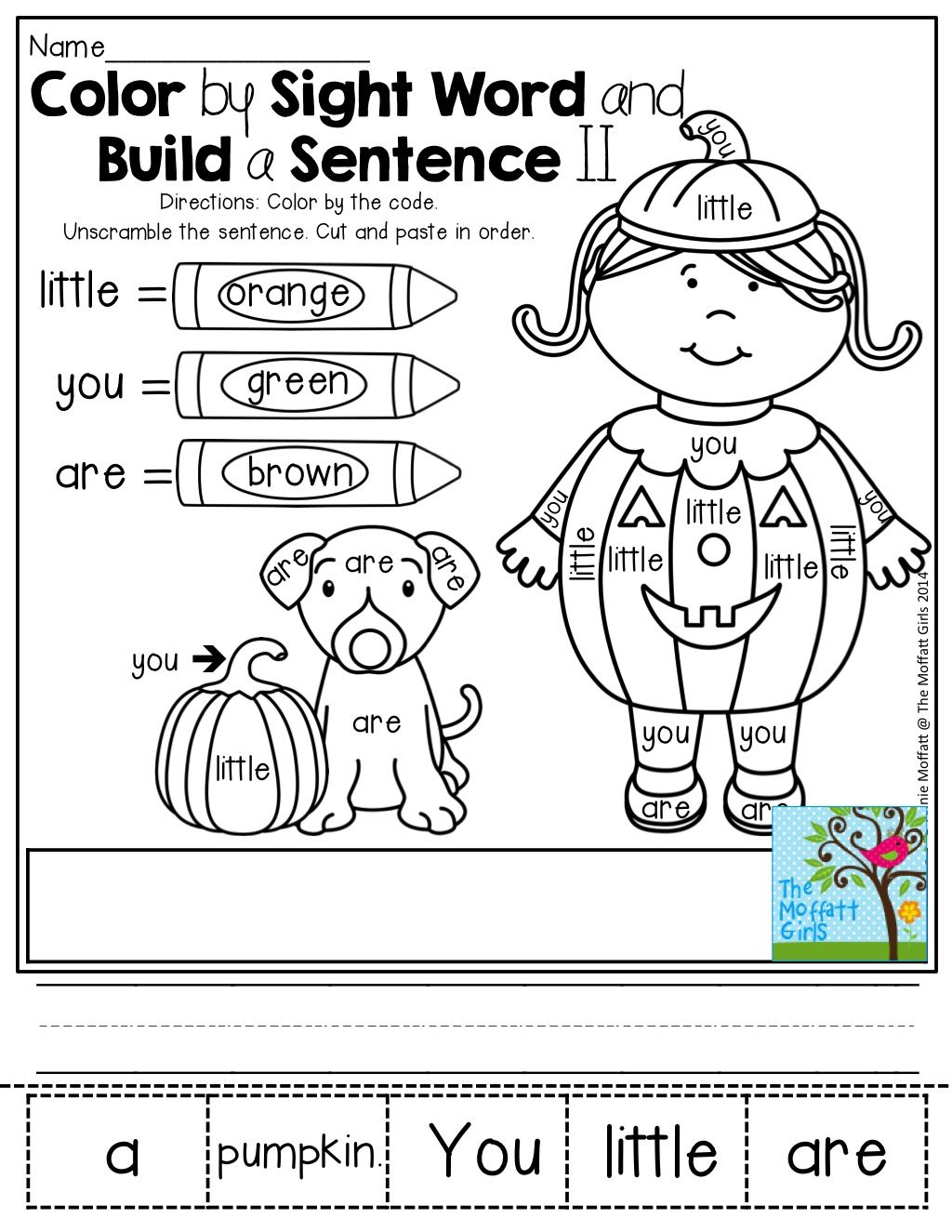 Color By Sight Word And Build A Sentence