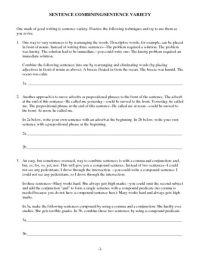 Sentence Combining/Sentence Variety Worksheet | Lesson ...