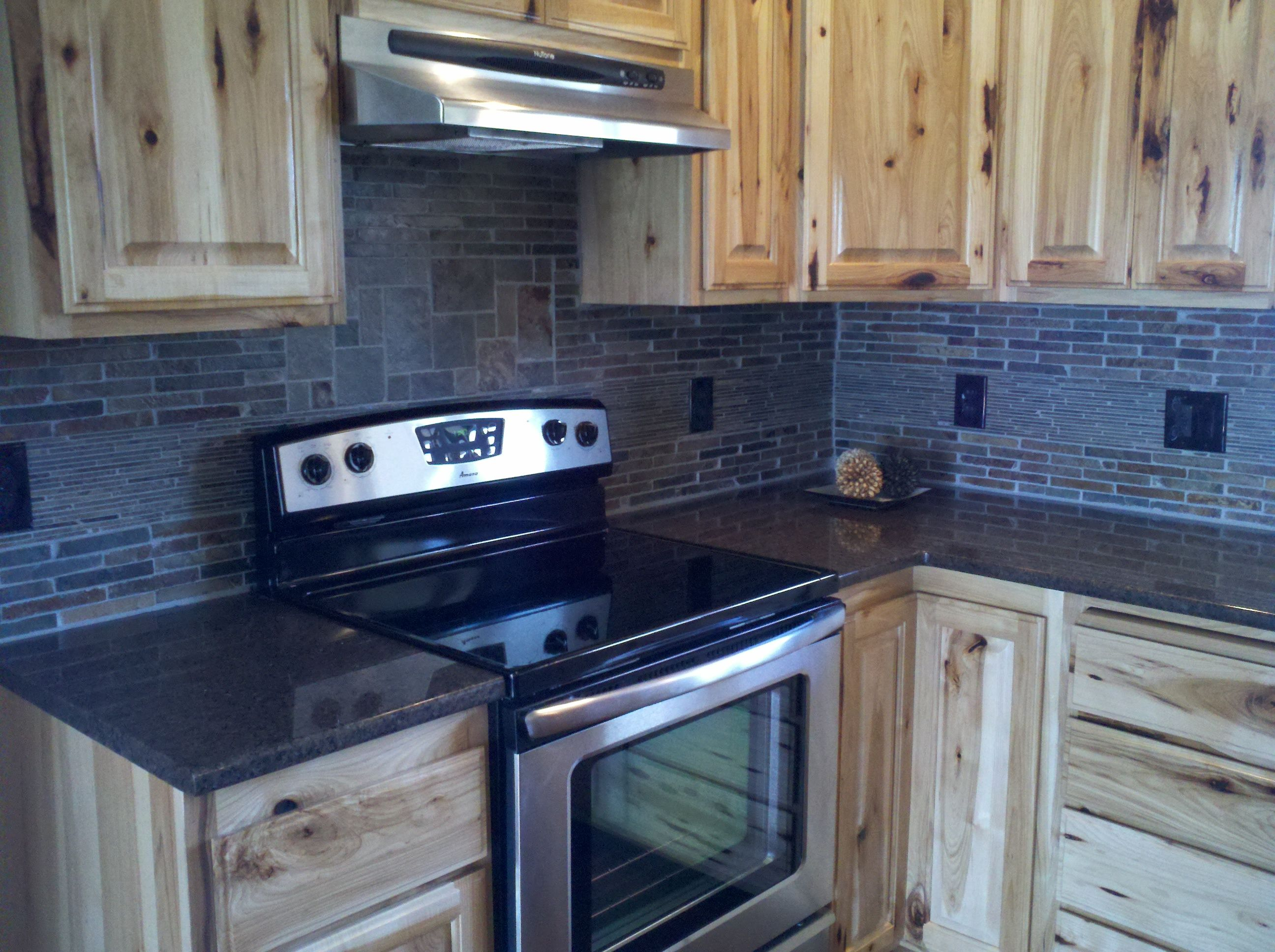 natural stone backsplash kitchen commercial flooring with layered tile custom hickory
