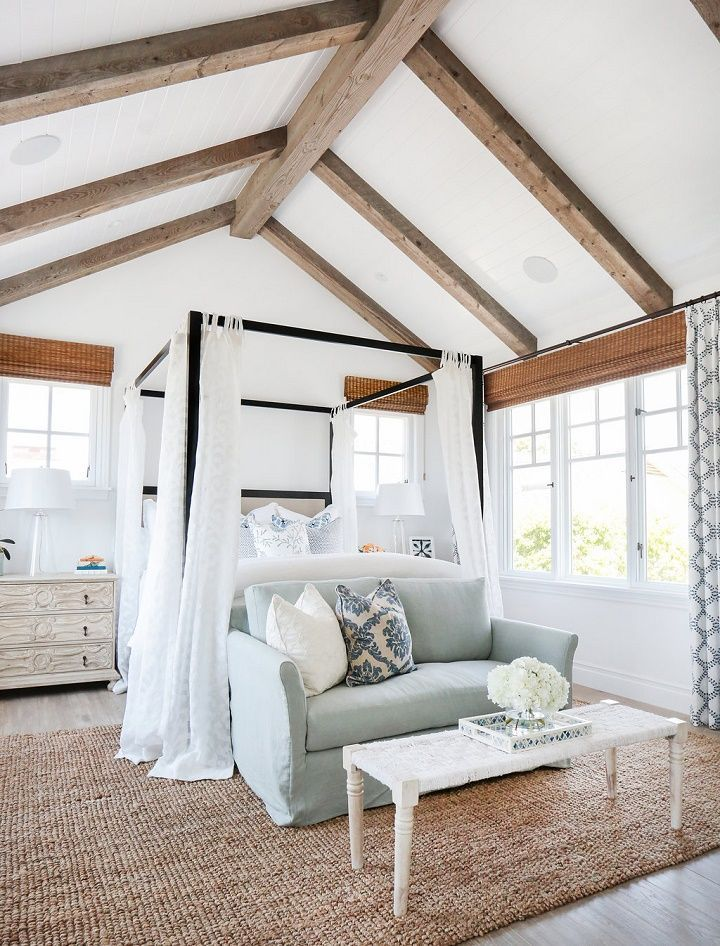 California Beach House Master Bedroom With Exposed Beams Vaulted