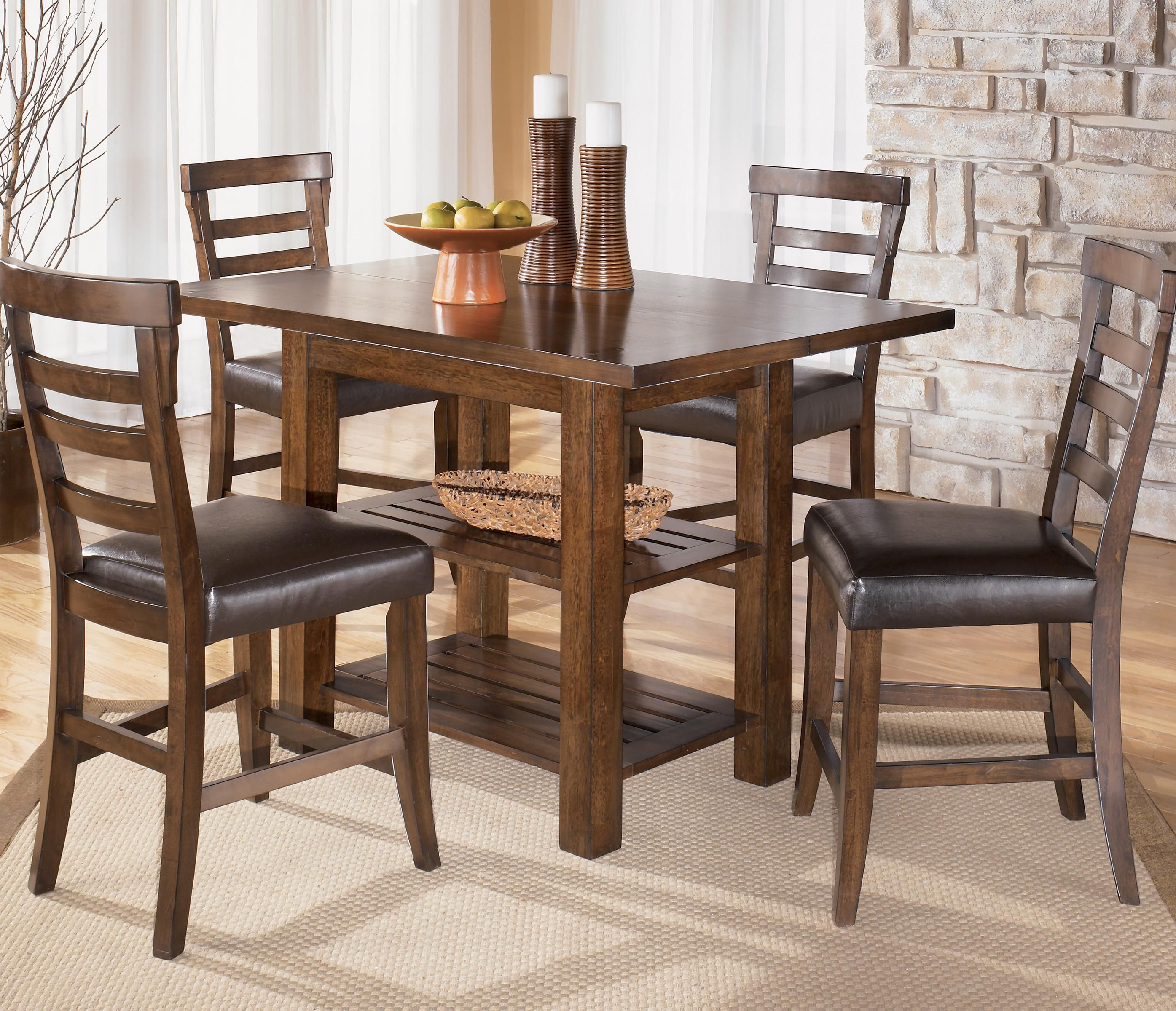 ashley furniture kitchen table and chairs cabinet ratings pinderton square counter height ext by signature