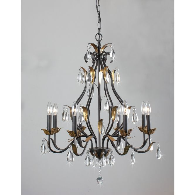 First Lighting Juno 8 Light Antique Bronze Candelabra Chandelier Finish With Dark Gold Leaves Black Crystal