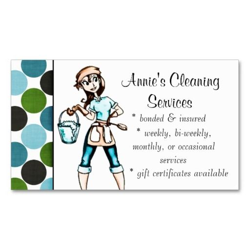 Cleaning Services Lady Business Card Blue Green Housekeeping