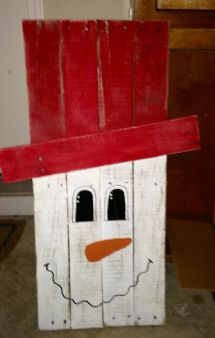Wooden Painted Snowman Holley' Handcrafted