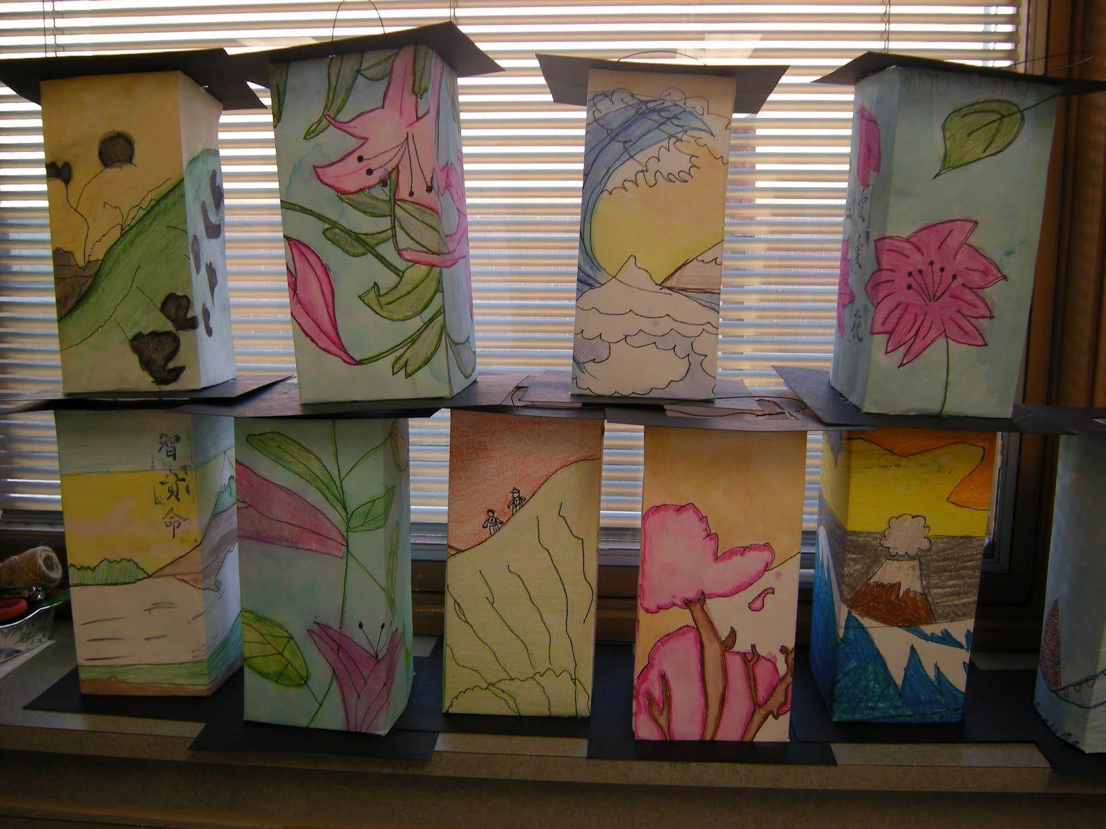 Asian Lanterns Lesson With Template