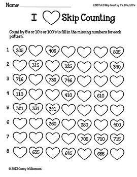 Math Printables for Valentine's Day FREEBIE Second Grade C