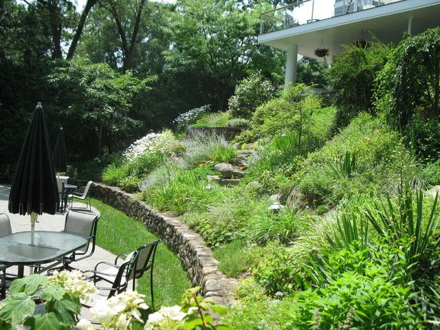 Landscaping Charming Patio And Garden Ideas With Downward Sloping
