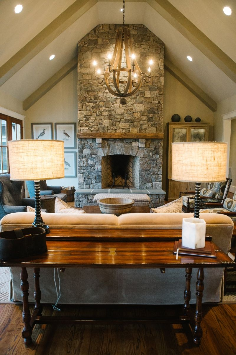 Gorgeous living room with a vaulted ceiling and exposed