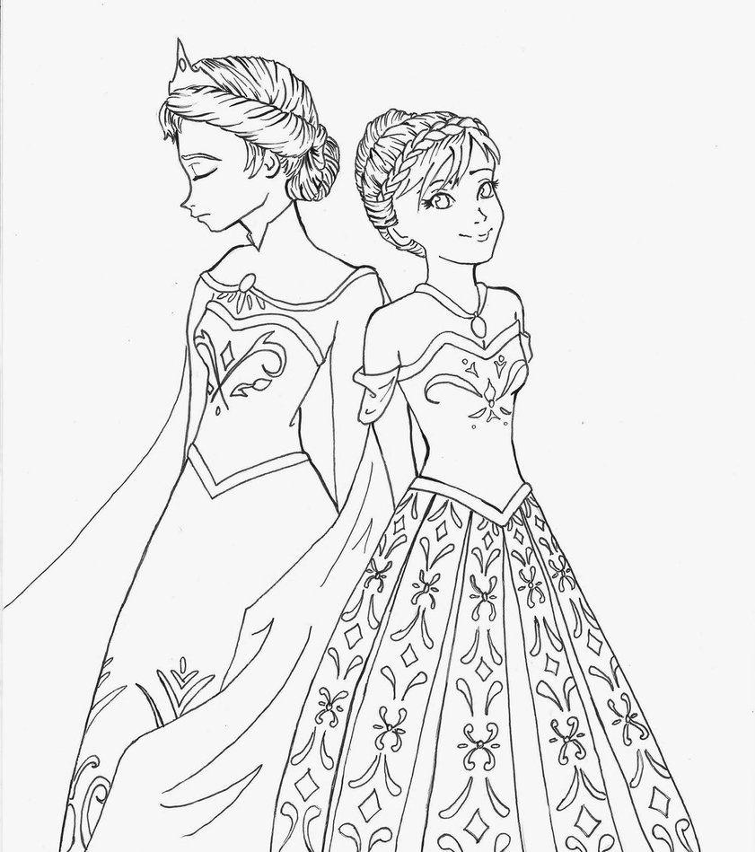 Frozen Coloring Pages Elsa Coronation Coloring Page