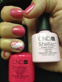 Summer Shellac color Pink Bikini with accent nail in Cake ...