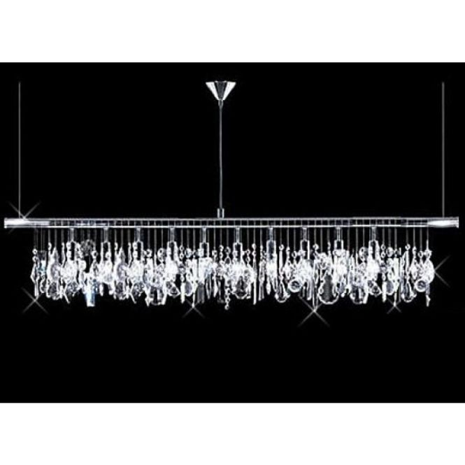 Modern 10 Light 40 Crystal Linear Bar Pendant Chandelier