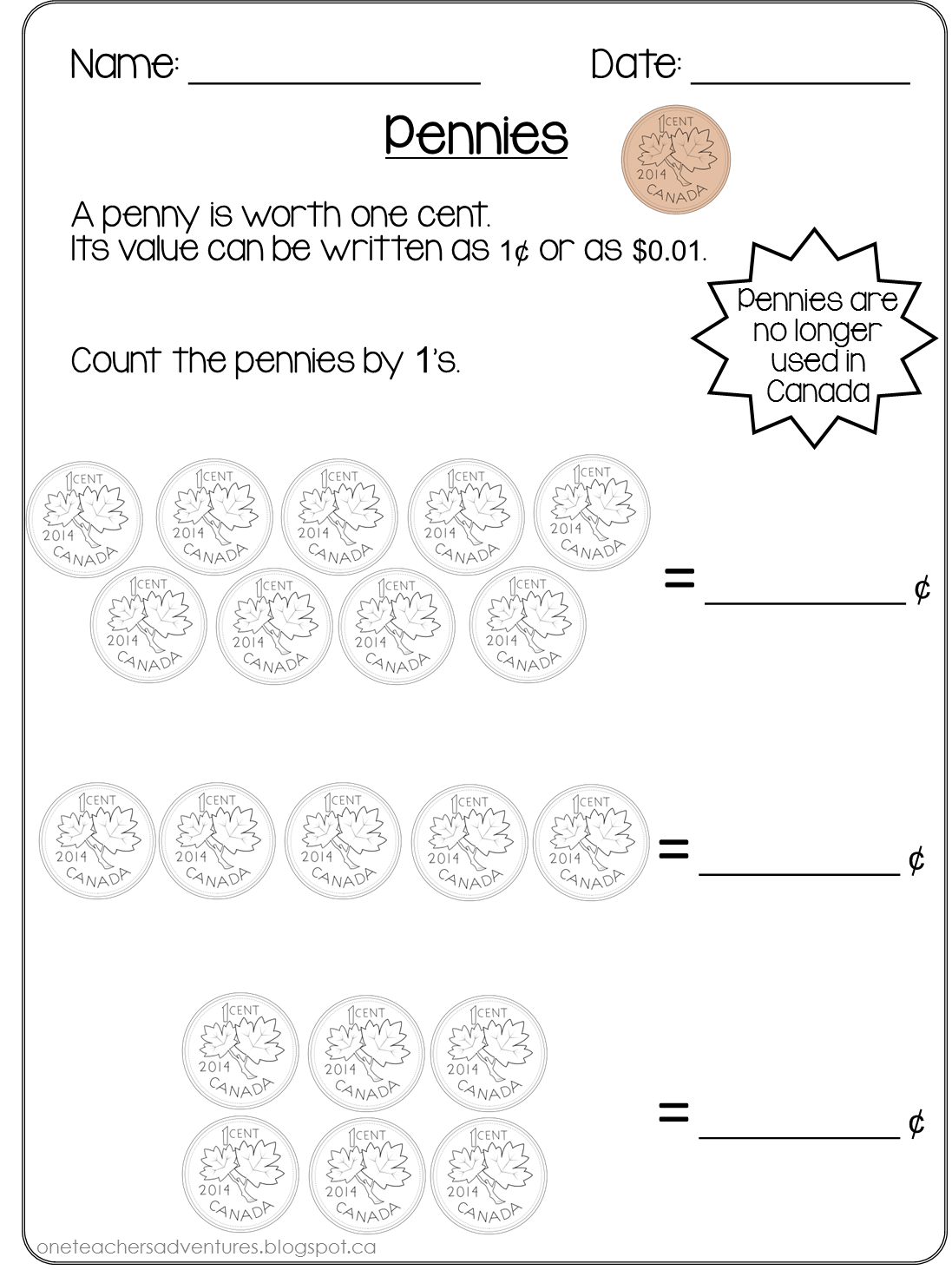 Free Canadian Coins Counting Money Pages