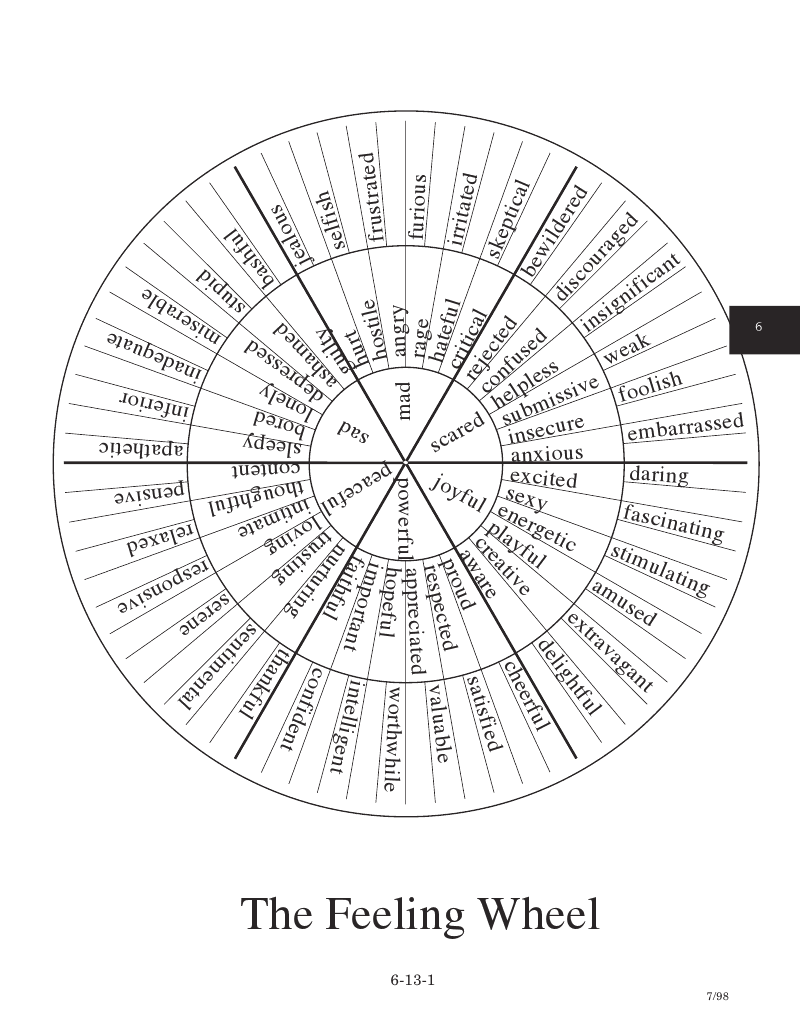 Feelings Wheel...many ways to adapt this to treatment