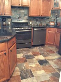 Porcelain slate tile kitchen with GE slate appliances ...