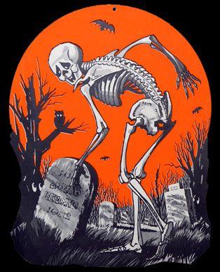 Vintage Skeleton in a Graveyard Paper Halloween Decoration