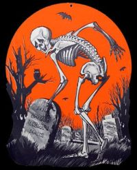 Vintage Skeleton in a Graveyard Paper Halloween Decoration