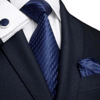 Landisun Navy Blue Silk Tie Set, Handkerchief & Cufflinks ...