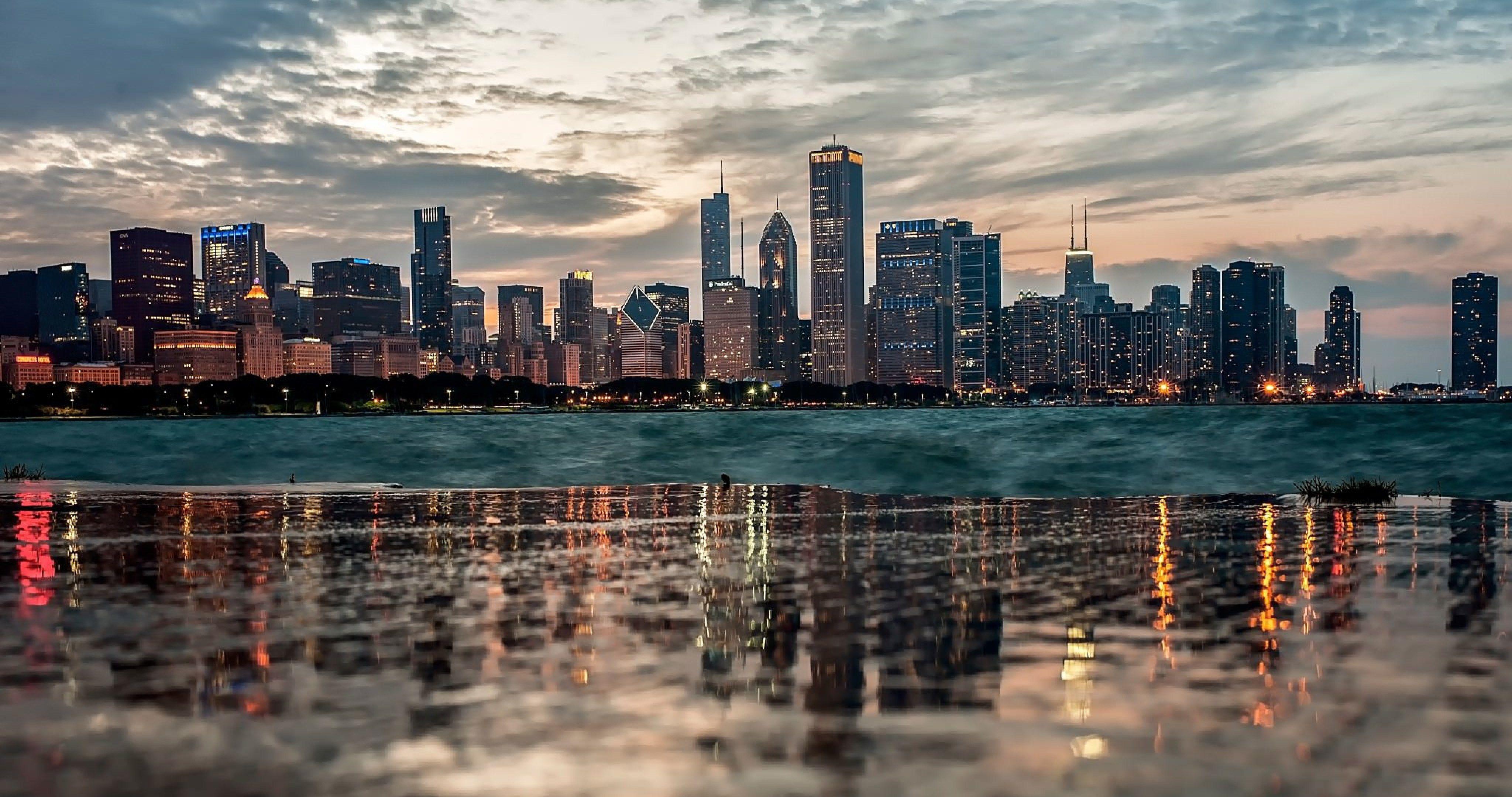 chicago reflection 4k ultra hd wallpaper