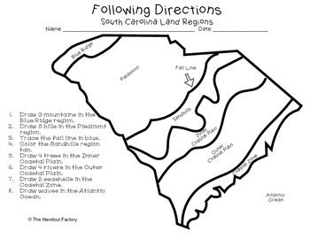 South Carolina's Land Regions- Following Directions