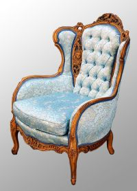 Carved Walnut French Victorian Chair with Heads and Birds