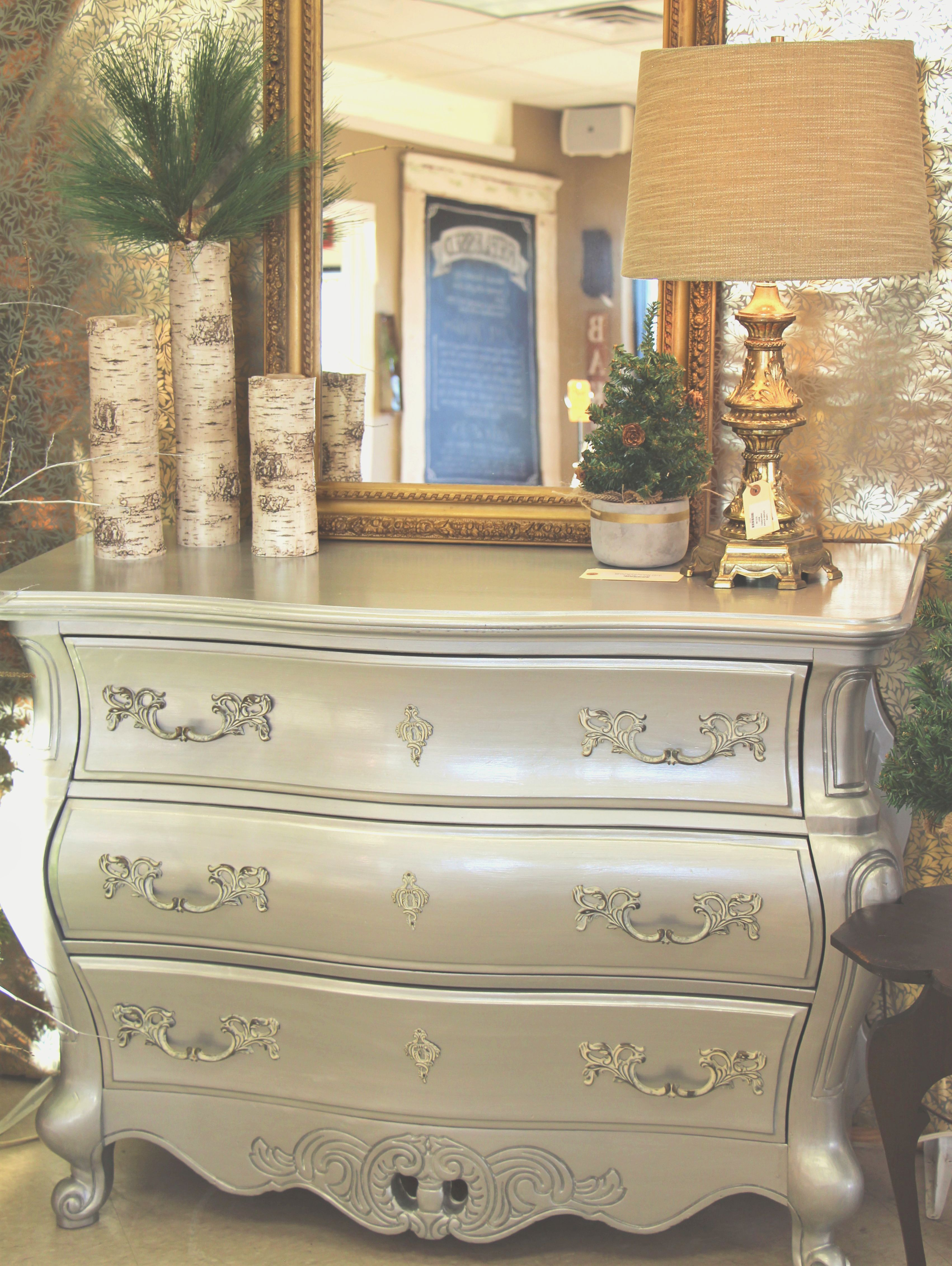 Bombay chest painted in General Finishes Argentine Pearl