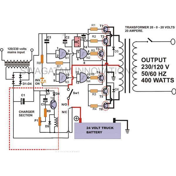 500w Solar Inverter Grid Tie Wiring Diagram How To Build A 400 Watt High Power Inverter Circuit With